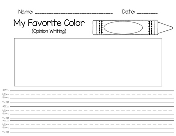 Favorite Color - Opinion Writing