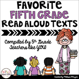 Favorite Fifth Grade Read Aloud Texts