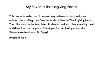 Favorite Food Template--Healthy Food Choices, Thanksgiving, Opinion Writing