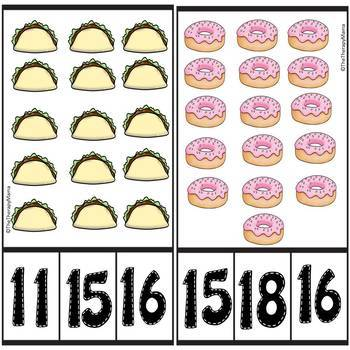 Favorite Foods Counting Number Clip Cards 1 - 20 No prep Math Center Cards ABA