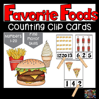 Favorite Foods Count and Clip Number Cards