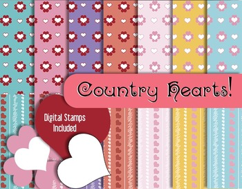 Favorite Hearts and Stripes in Country Colors • Scrapbook Papers • Digital Stamp
