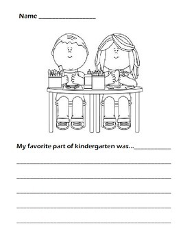 Favorite Part of Kindergarten Writing Prompt