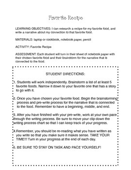 Favorite Recipe Task Card