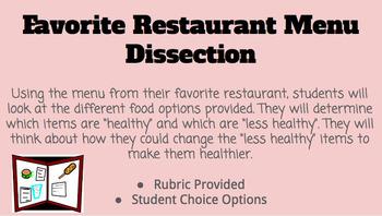 Favorite Restaurant Menu Dissection- Nutrition Assignment