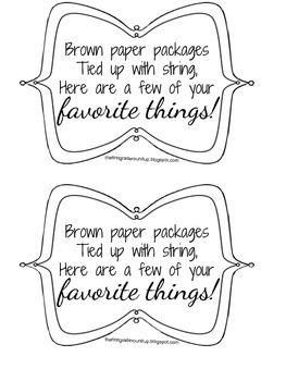 Favorite Things Gift Bag Tags FREEBIE!!
