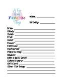 Favorite Things List