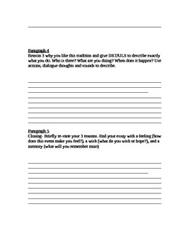 Favorite Tradition Guided Writing Template