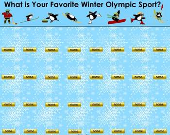 Favorite Winter Olympic Sport SMART Board Attendance Activity (Penguin Themed)