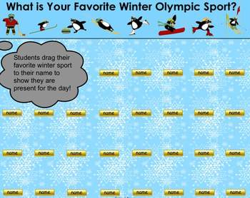 Favorite Winter Olympic Sport SMART Board Attendance Activ