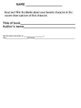 Favorite character writing