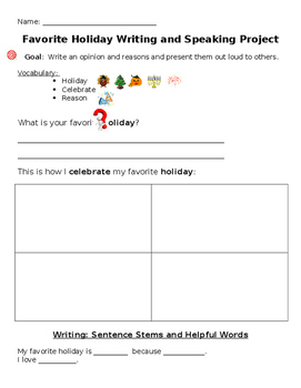 Favorite holiday - writing/speaking project