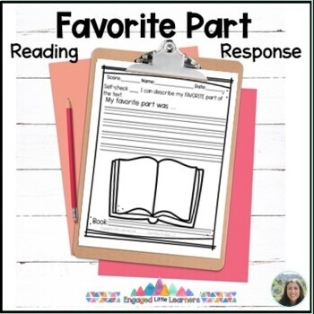 Favorite part of the text reading response comprehension graphic organizer