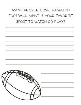 Favorite sport writing ~ Creative writing includes football graphics