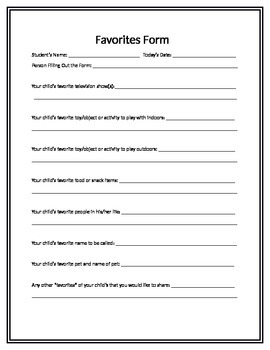 Favorites Form