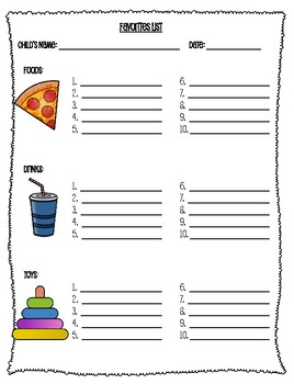 Favorites Inventory for Speech Therapy Targets