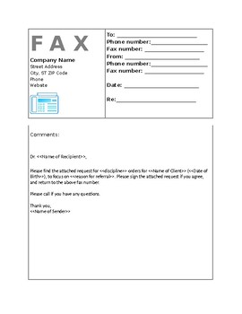 Fax Cover Sheet Requesting Orders From Md Editable By Instaspeech