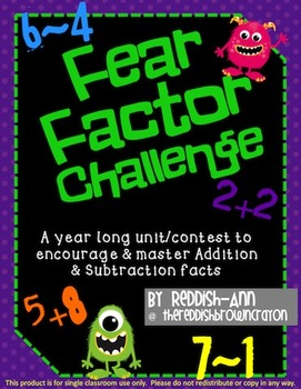 Fear Factor Addition Only Math Fact Challenge