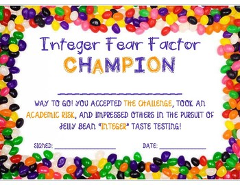 Fear Factor - Intro to Integers