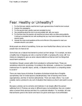 Fear: Healthy or Unhealthy Close Read Activity