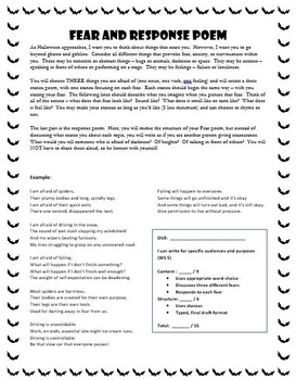 Fear and Response Poem - Creative Writing Halloween Activity