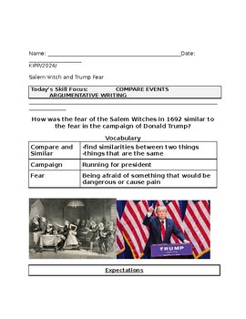 Fear in Salem Witch Trials Compared to Fear in 2016 Election