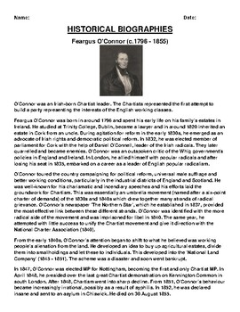 Feargus O'Connor  Biography Article and (3) Assignments
