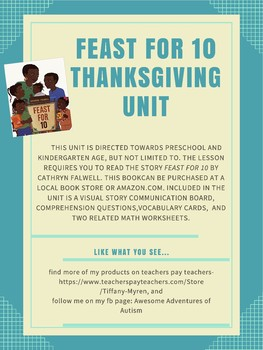 Feast For 10, Thanksgiving Book Unit- Autism