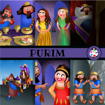 Feast of Lots Purim Clip Art Illustration Set