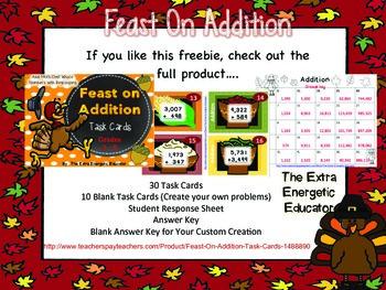 Feast on Addition {Task Card FREEBIE}