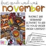 First Grade Word Work November