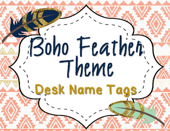 Feather Boho Desk Name Tags