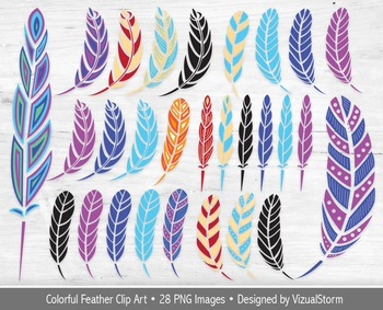 Feather Clip Art, 28 Colorful Tribal Feather and Silhouett