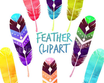 Feather Clip art, watercolor feathers, for personal and commercial