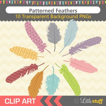 Feather Clipart, Patterned Feather Clip Art, Tribal Feather Graphics