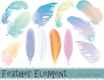 Feather Digital Clip Art Feather Element Feather Pink Blue