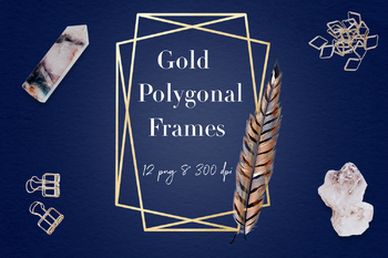 Feather Frames Clipart, Geometrical & Feather Gold Frames, Boho Polygonal Frames