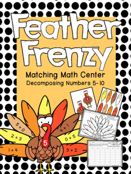 Turkey Math- Feather Frenzy: Matching Math Center for Deco