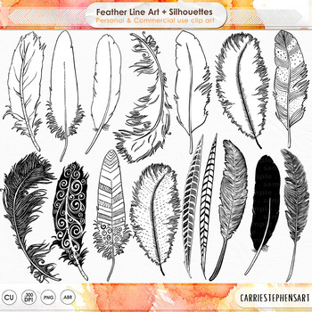 Feather Line Art & Silhouette Clip Art, Photoshop Brushes + PNG Digital Stamps