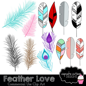 Feather Love Tribal Digital Clip Art Designs