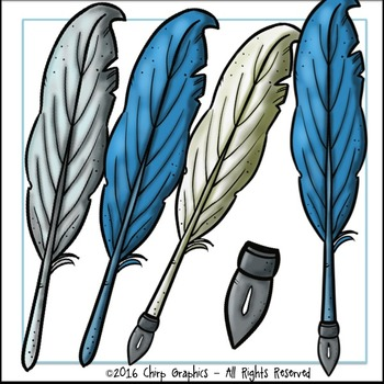 Feather Quill Pens, Ink, and Seals Clip Art Set - Chirp Graphics