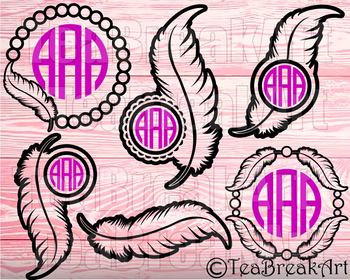 Feather frames Outline Monogram Cutting Files SVG PNG EPS dxf ClipArt 745C
