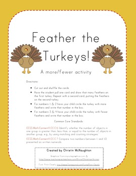 Feather the Turkeys! A More/Less Activity