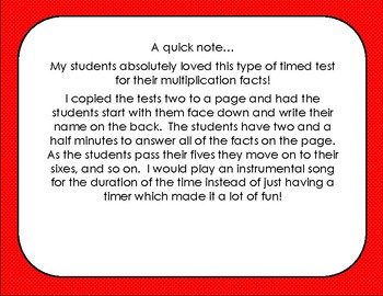 Feathered Fives Multiplication Timed Test