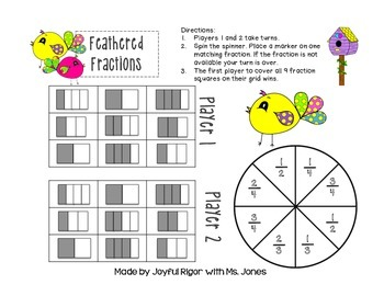 Feathered Fractions - A One-Page Math Game