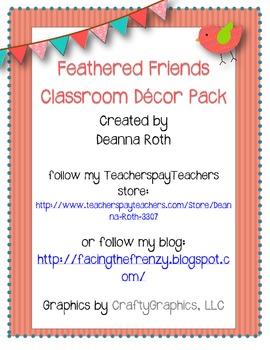 Feathered Friends {Owls & Birds} Classroom Decor Pack