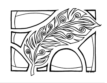 Featherly Feather Coloring Page by Miss Jenny. Summer Fun. Fall Colors