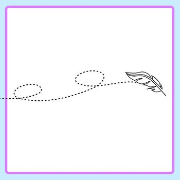 Feathers Blowing In Wind Dotted or Dashed Tracing Lines Clip Art Set