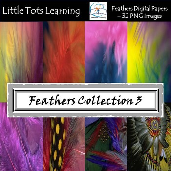 Feathers Digital Papers/Background - Peacock - Tribal Feathers - Set 3