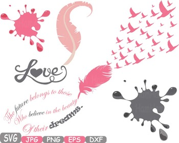 Feathers Dream Love clip art flying birds lyrics memorial quote Valentine -211s